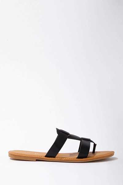 Forever 21 Faux Leather Caged Thong Sandals