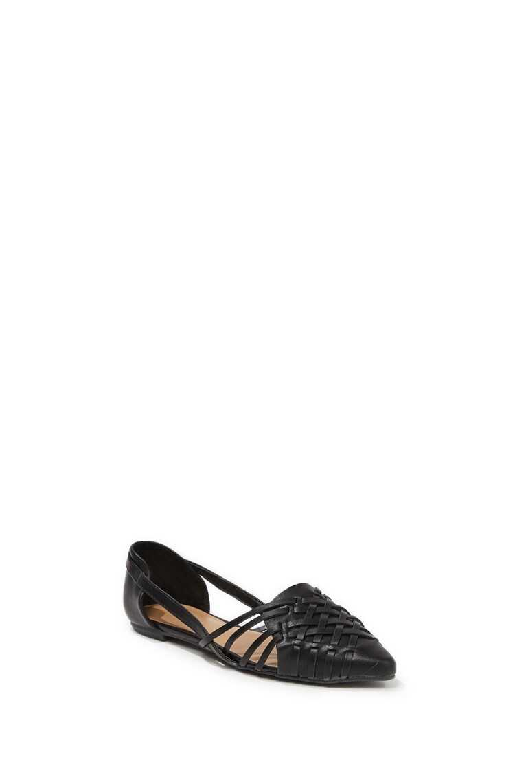 Forever 21 Faux Leather Crisscross Flats