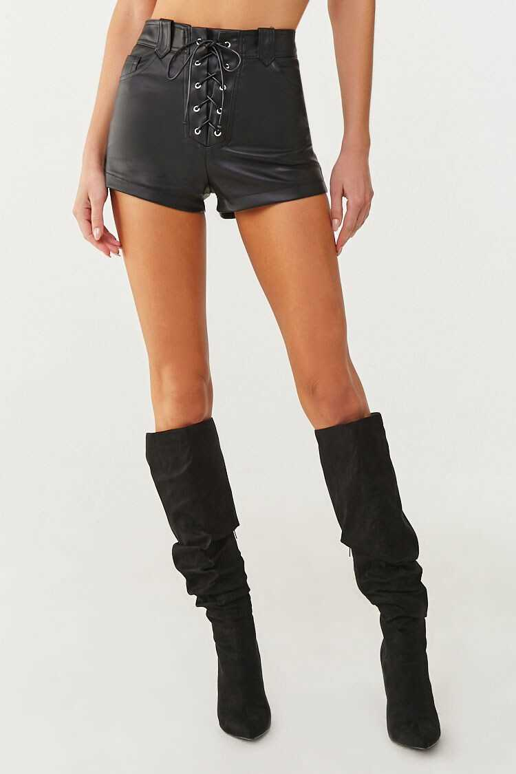Forever 21 Faux Leather Lace-Up Shorts
