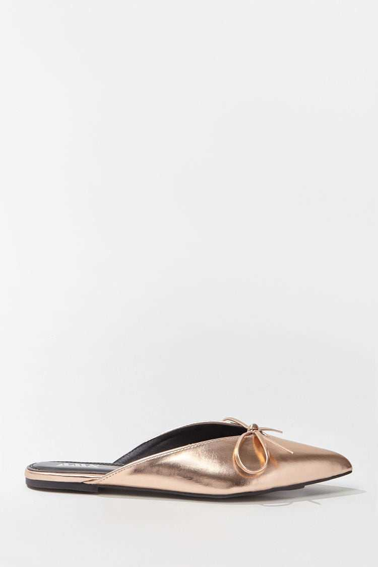 Forever 21 Faux Leather Metallic Bow-Front Mules
