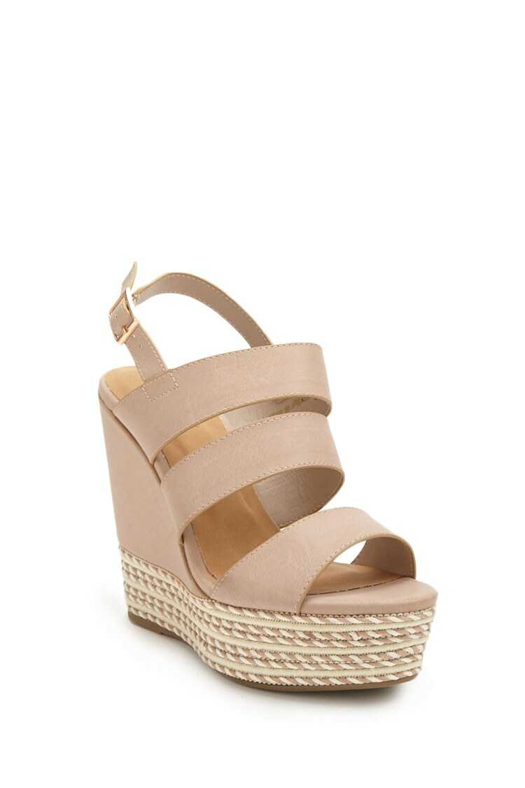 Forever 21 Faux Leather Strappy Espadrille Wedges
