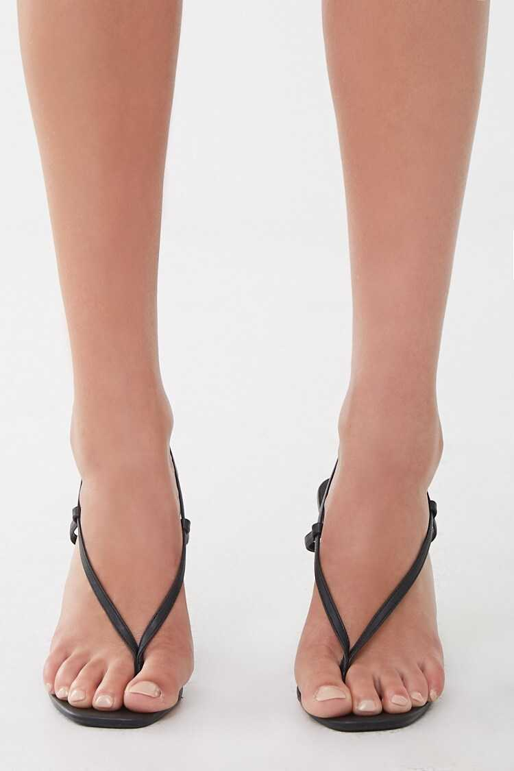 Forever 21 Faux Leather Strappy Thong Heels