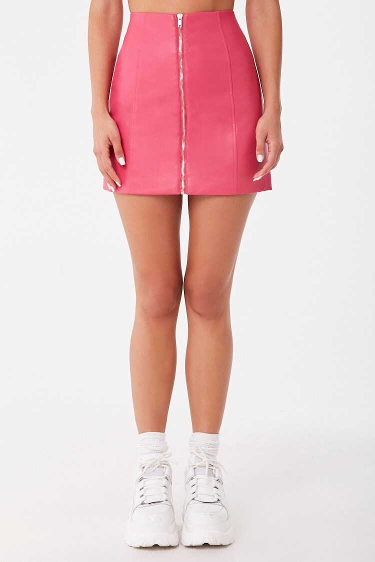 Forever 21 Faux Leather Zip-Front Skirt