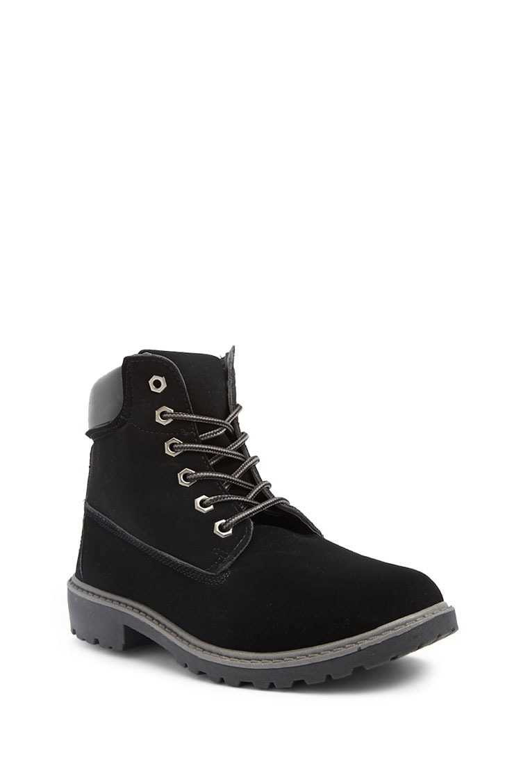 Forever 21 Faux Nubuck Lace-Up Boots