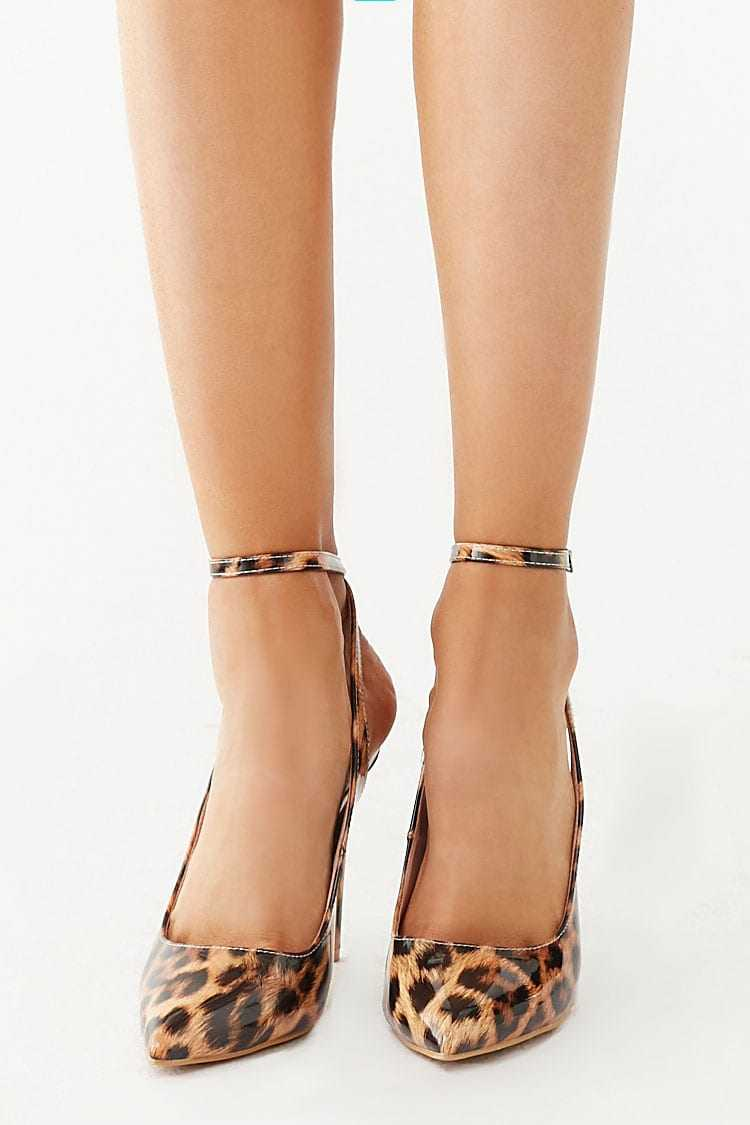 Forever 21 Faux Patent Leather Leopard Heels