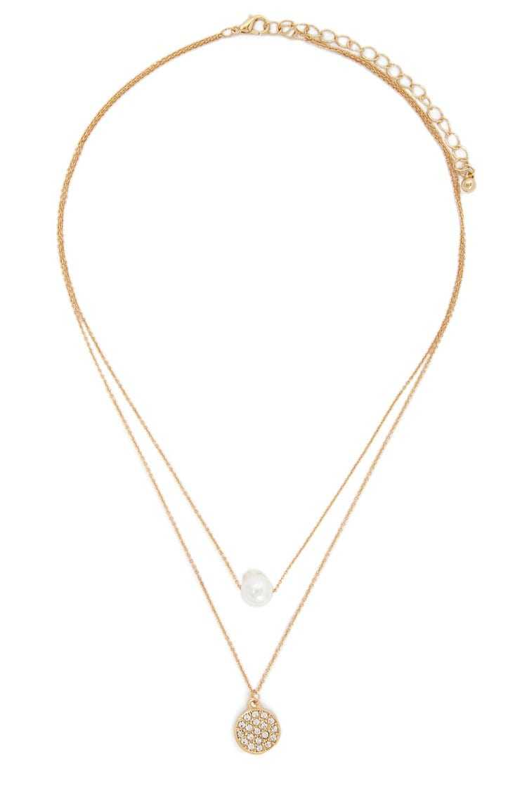 Forever 21 Faux Pearl & Rhinestone Pendant Layered Necklace