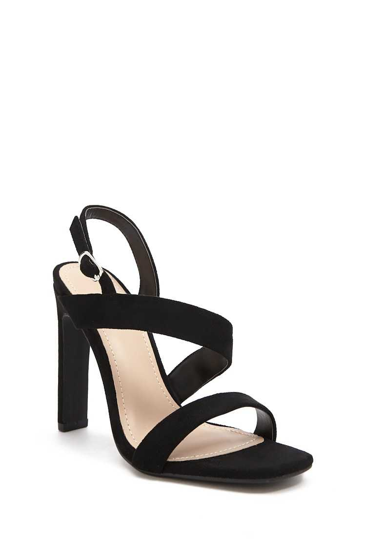 Forever 21 Faux Suede Asymmetrical Heels