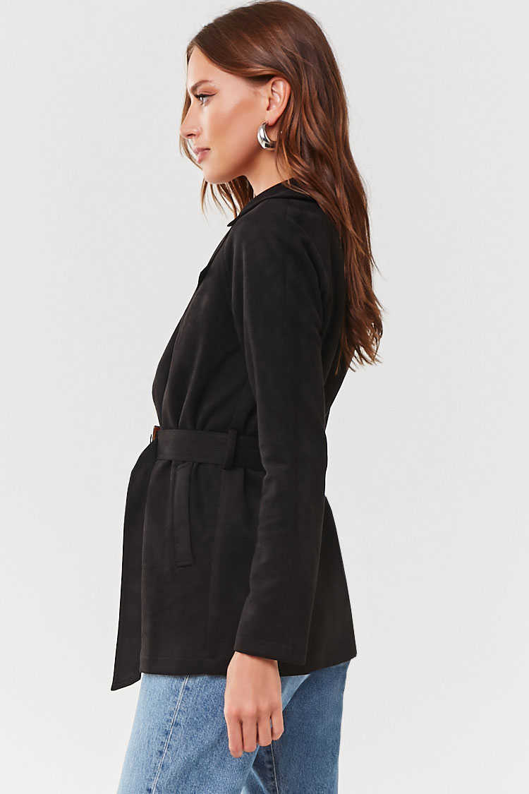 Forever 21 Faux Suede Belted Blazer