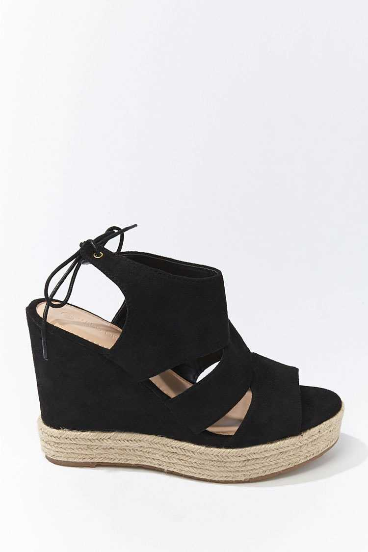 Forever 21 Faux Suede Cutout Espadrille Wedges