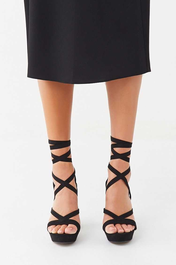 Forever 21 Faux Suede Lace-Up Heels