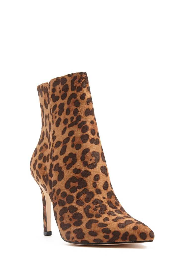 Forever 21 Faux Suede Leopard Print Ankle Boots