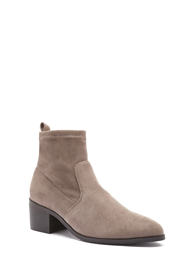 Forever 21 Faux Suede & Microfiber Sock Ankle Booties