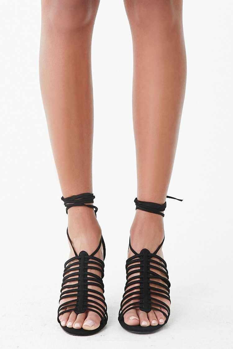 Forever 21 Faux Suede Strappy Cage Heels