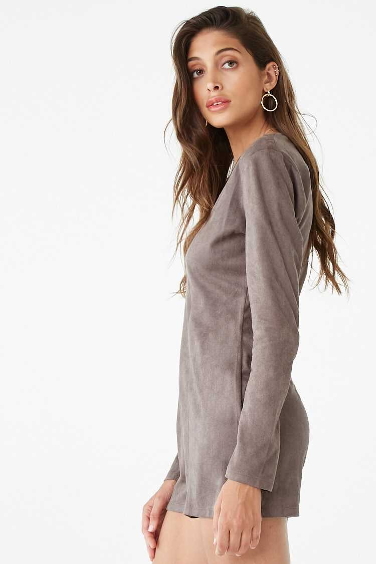 Forever 21 Faux Suede Strappy Romper