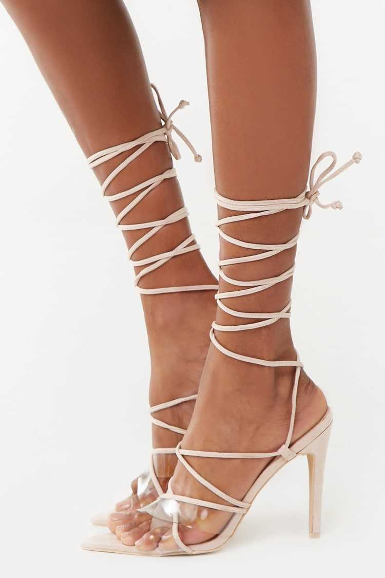 Forever 21 Faux Suede Wraparound Heels