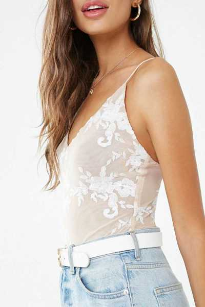 Forever 21 Floral Embroidered Mesh Thong Bodysuit