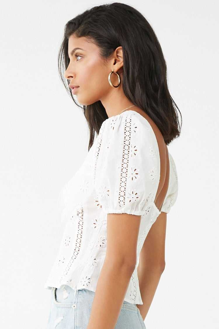 Forever 21 Floral Eyelet Lace Top