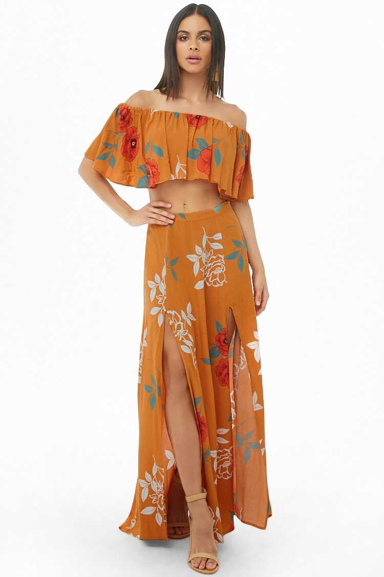 Forever 21 Floral Flounce Crop Top & Maxi Skirt Set