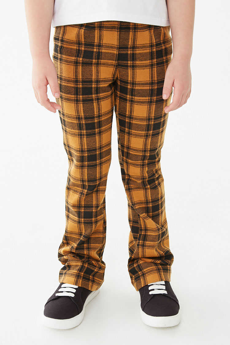 Forever 21 Girls Plaid Knit Pants (Kids)