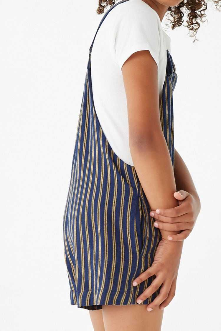 Forever 21 Girls Striped Overall Shorts (Kids)