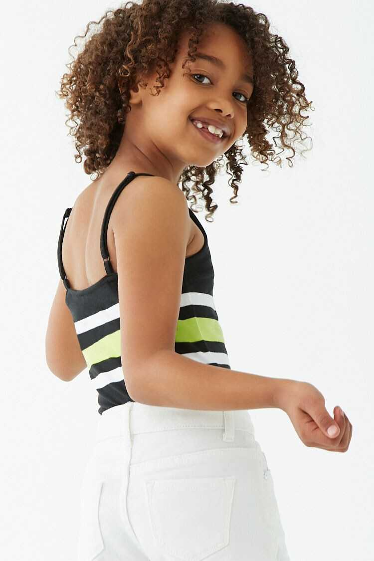 Forever 21 Girls Striped Trim Bodysuit (Kids)