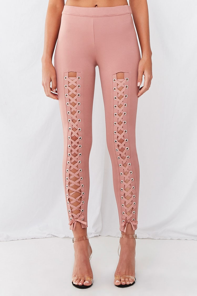 Forever 21 High-Rise Lace-Up Leggings