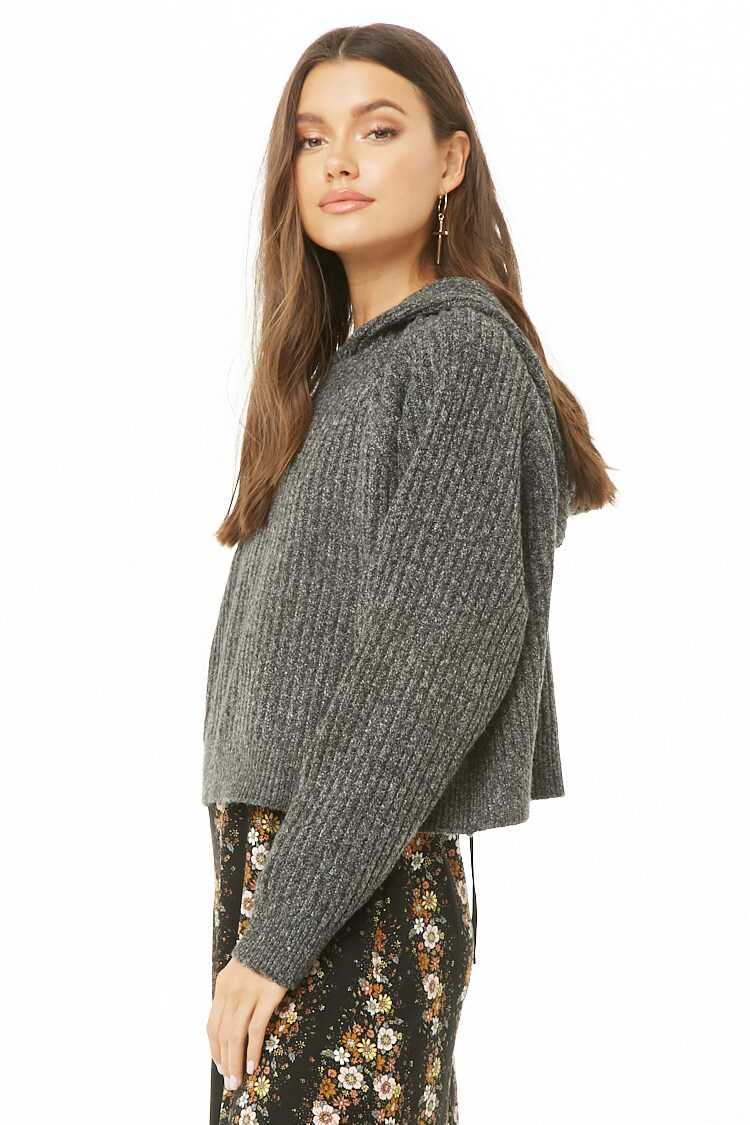 Forever 21 Hooded Ribbed Pullover Sweater