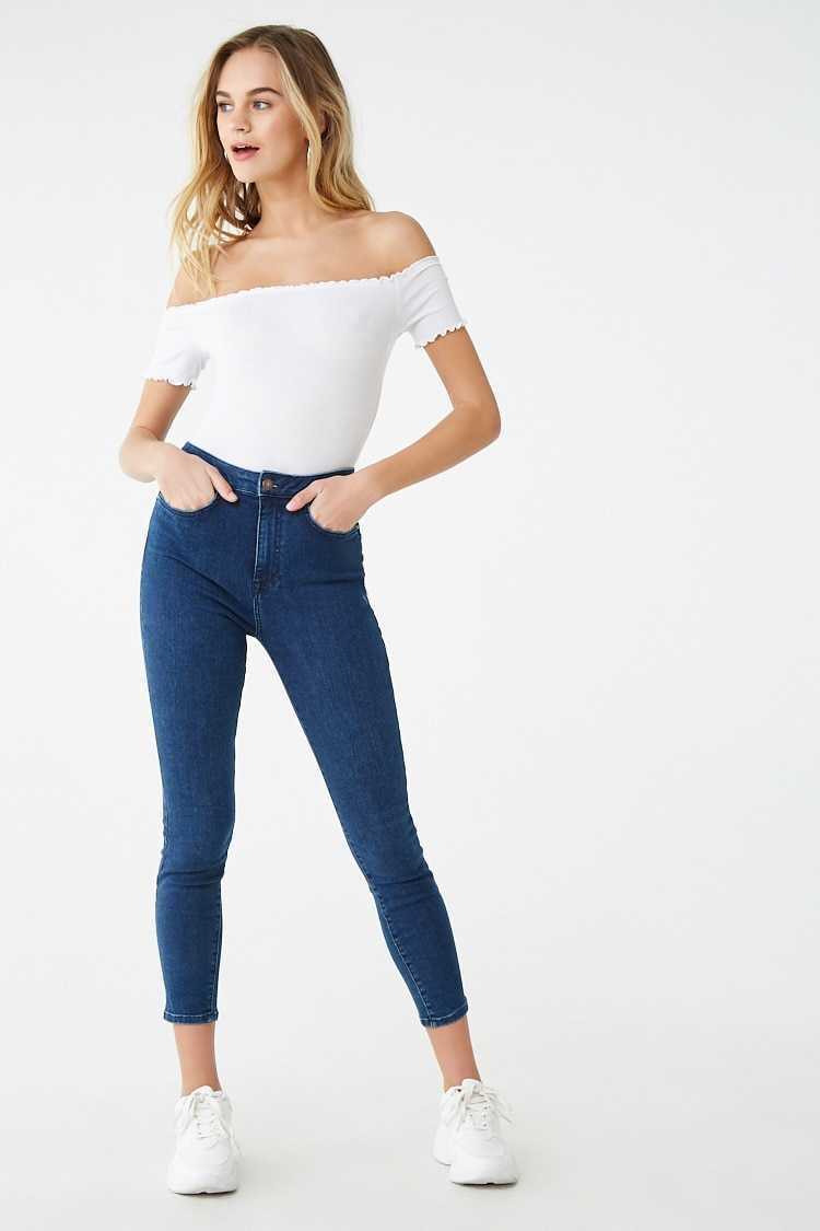 Forever 21 Lace-Up Back Skinny Jeans