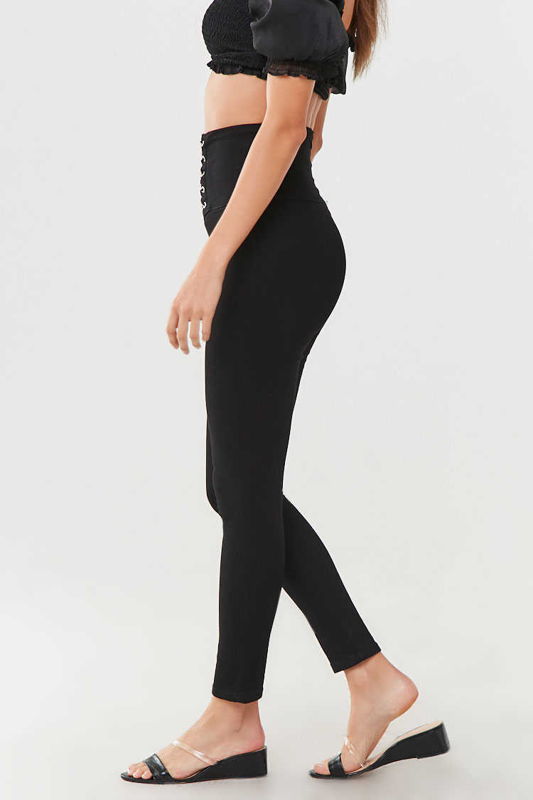Forever 21 Lace-Up Skinny Jeans