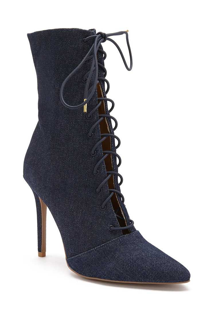 Forever 21 Lace-Up Stiletto Booties