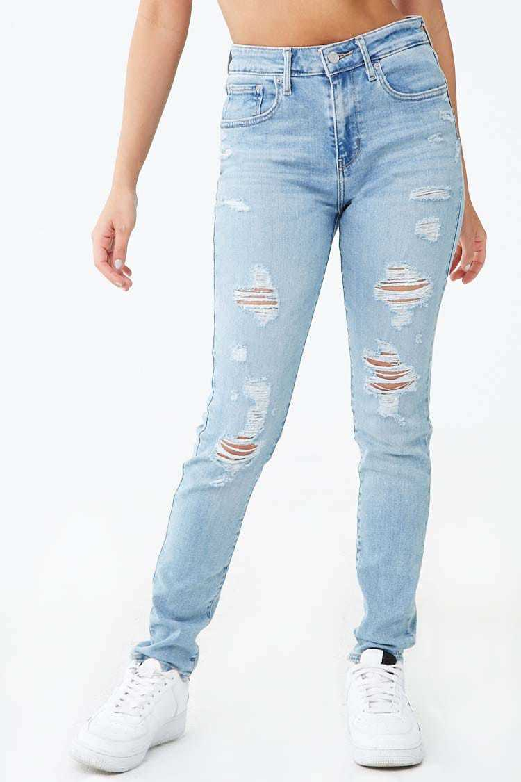 Forever 21 Levis 721 Distressed High-Rise Skinny Jeans