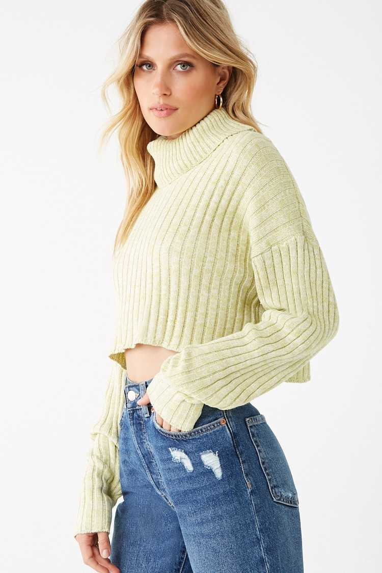 Forever 21 Marled Turtleneck Crop Top