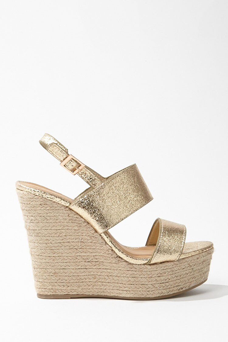 Forever 21 Metallic Espadrille Wedges