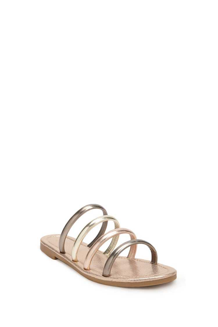 Forever 21 Metallic Strappy Faux Leather Slides