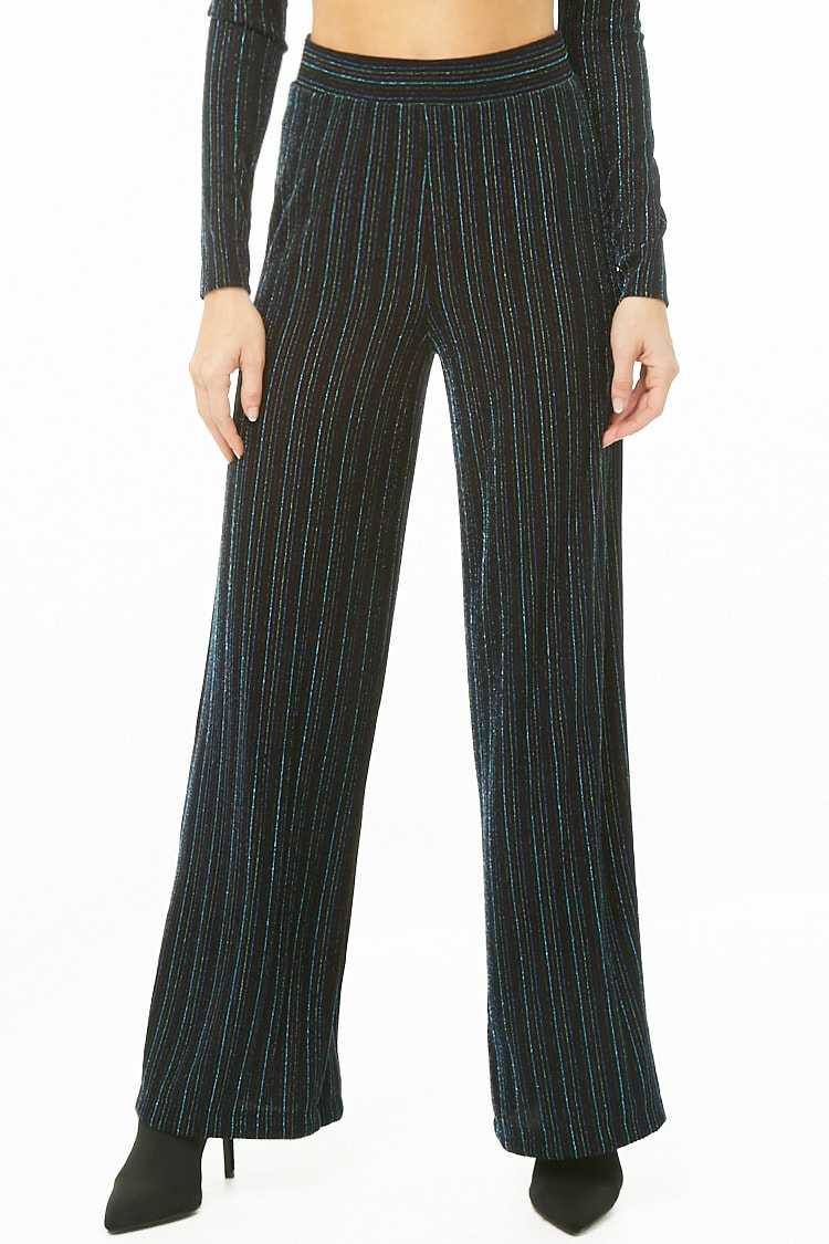 Forever 21 Metallic Striped Palazzo Pants