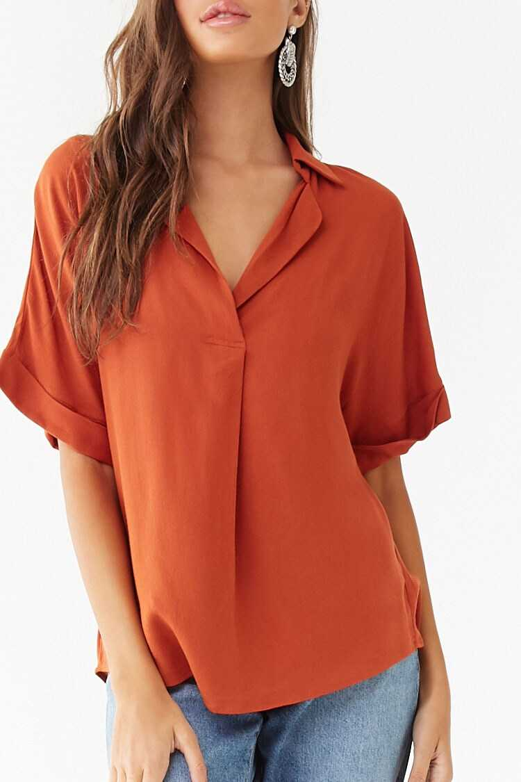Forever 21 Notched Collar Top