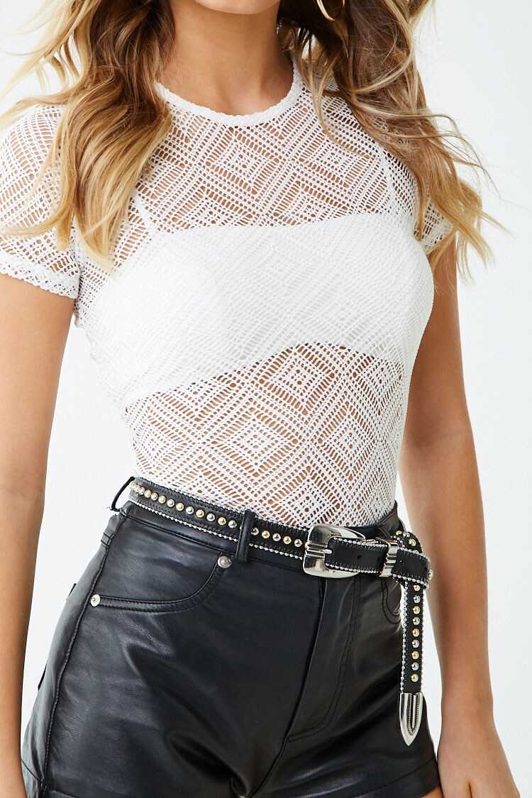 Forever 21 Open Knit Diamond Print Top