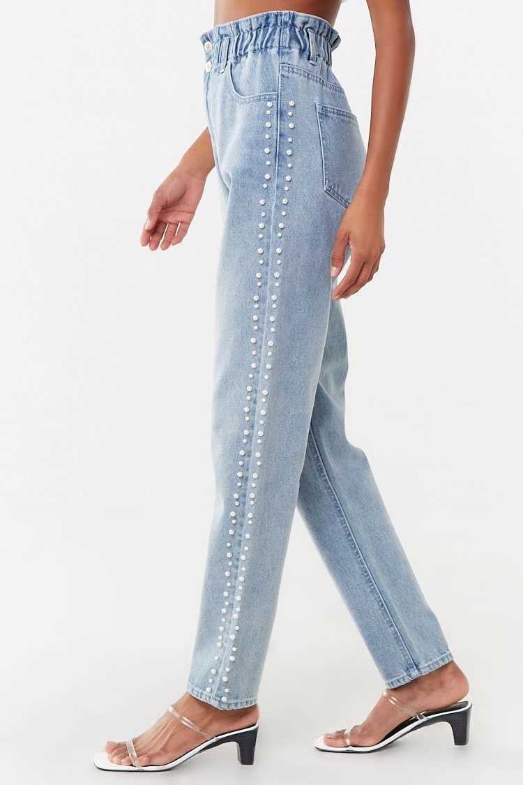Forever 21 Pearl-Embellished Ankle Jeans
