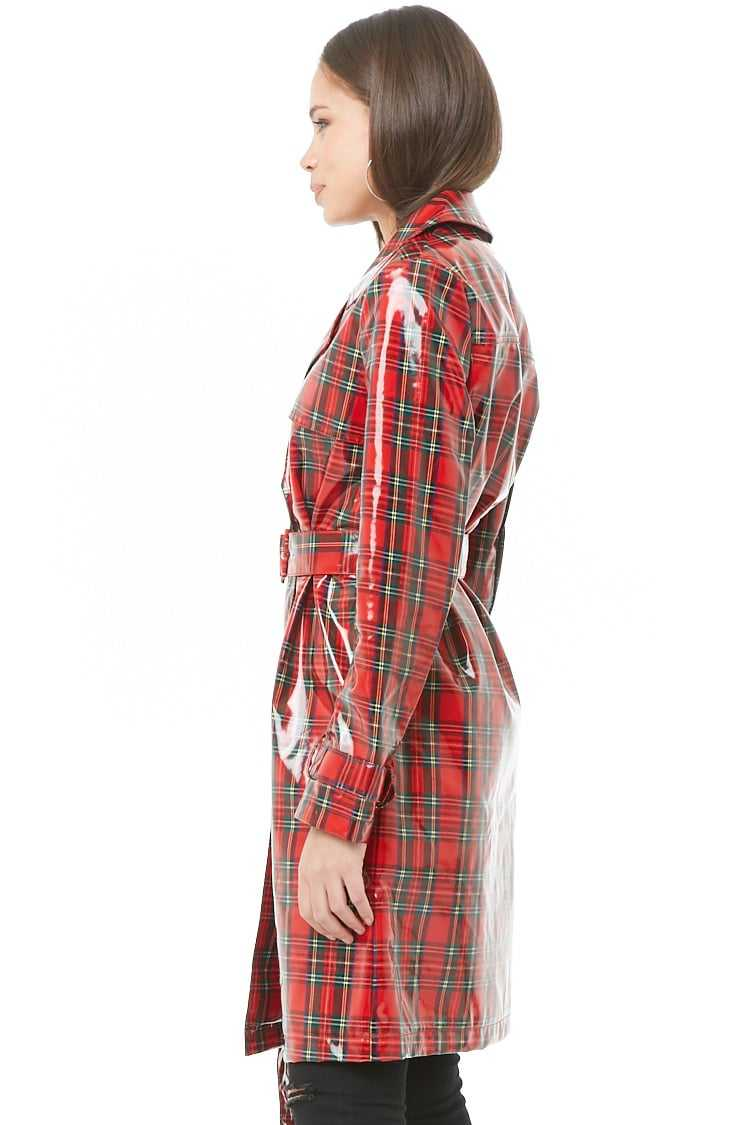 Forever 21 Plaid Print Trench Coat