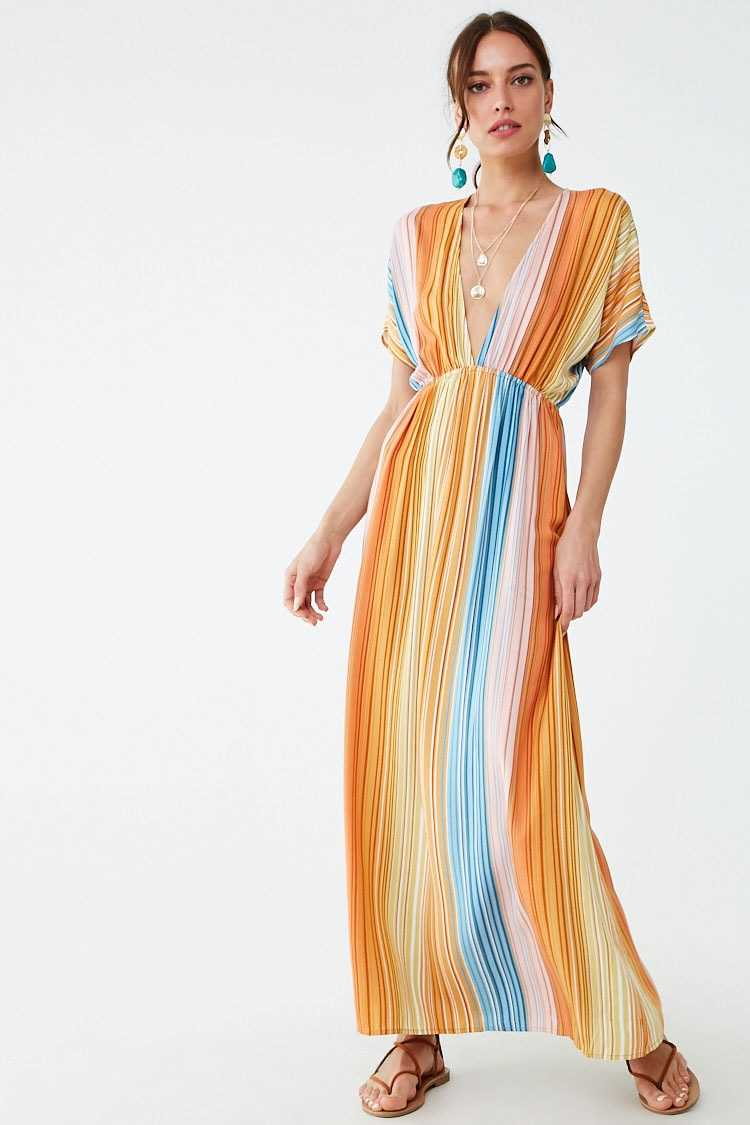 Forever 21 Plunging Striped Maxi Dress