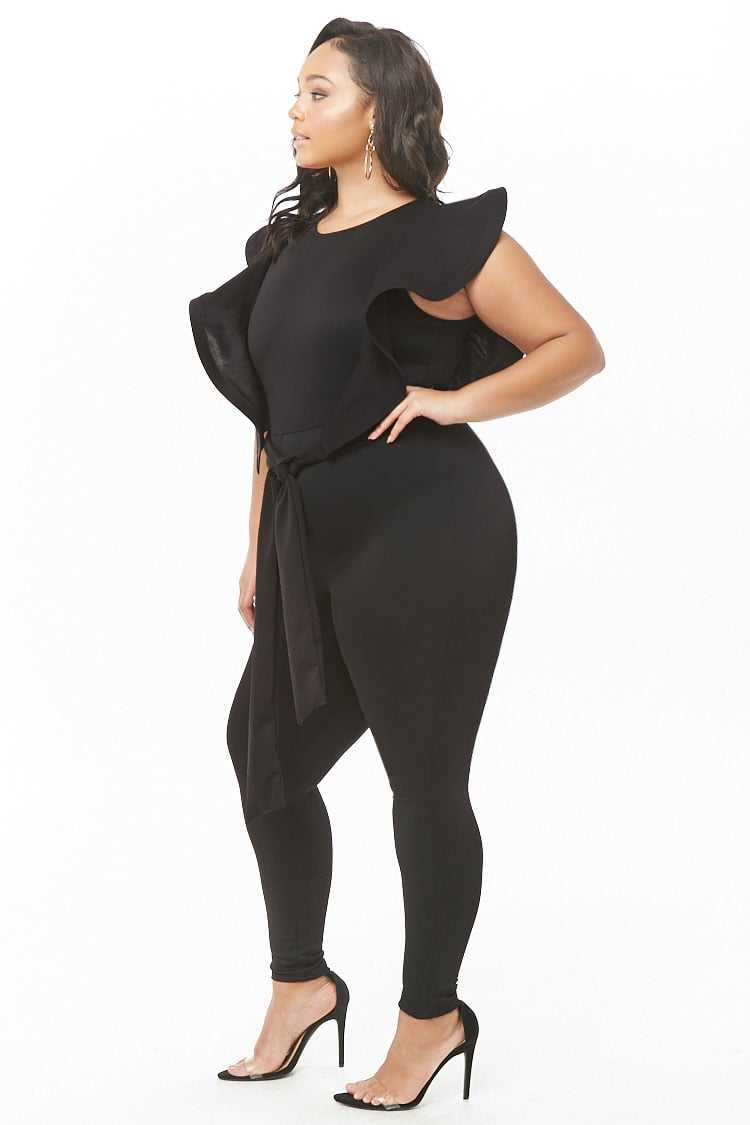 Forever 21 Plus Size Belted Ruffle-Trim Jumpsuit