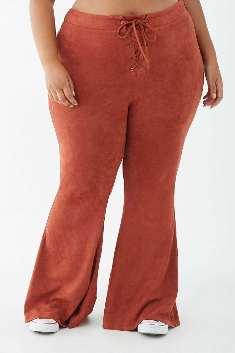 Forever 21 Plus Size Faux Suede Lace-Up Flare Pants