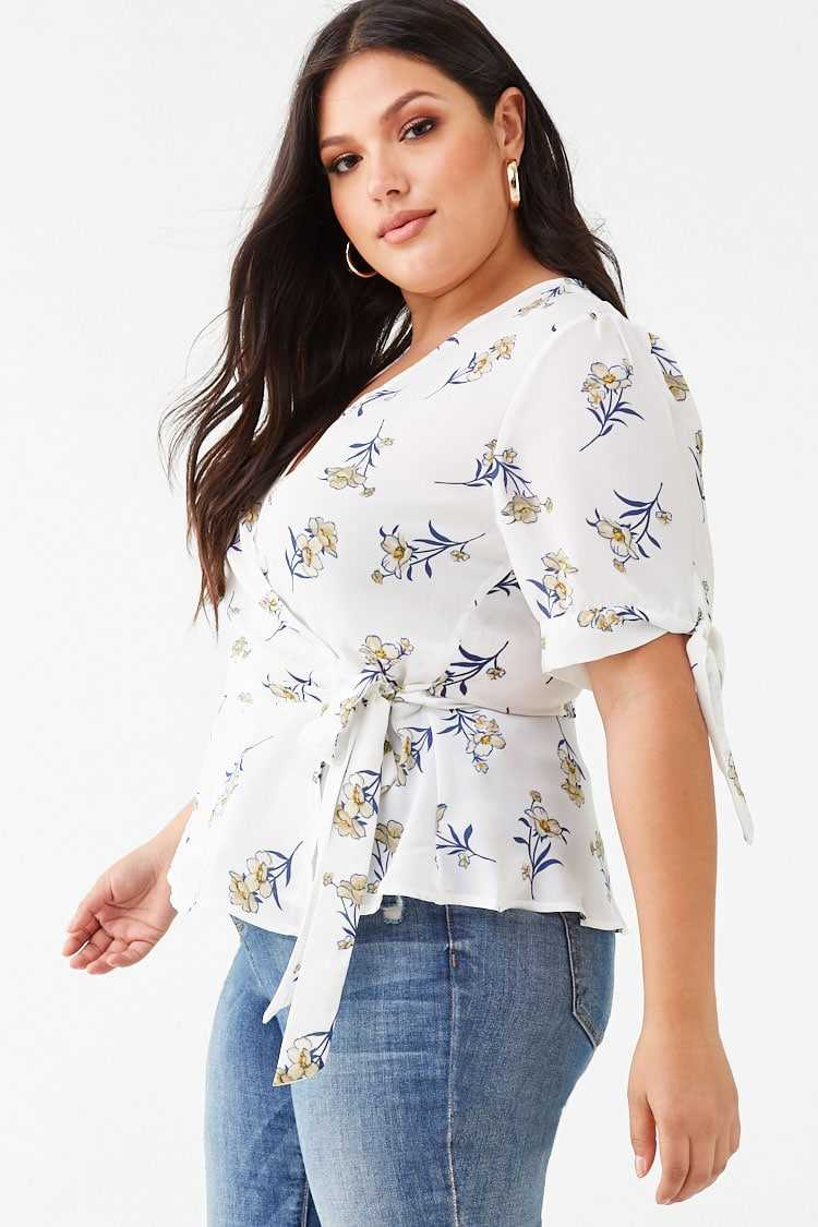 Forever 21 Plus Size Floral Wrap Top