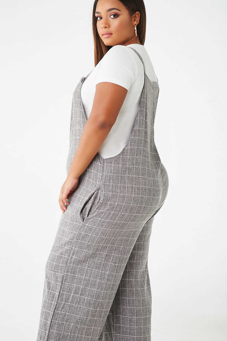 Forever 21 Plus Size Grid Print Overalls
