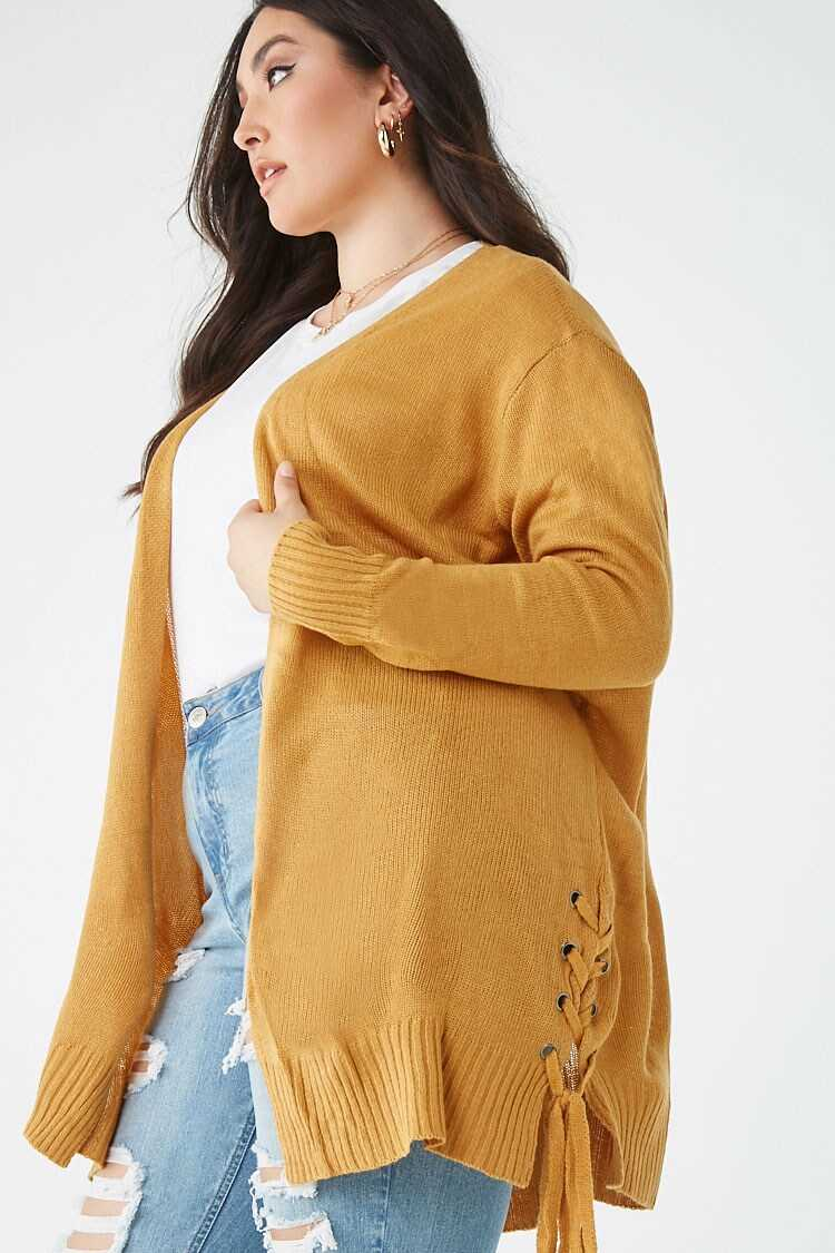 Forever 21 Plus Size Lace-Up Cardigan