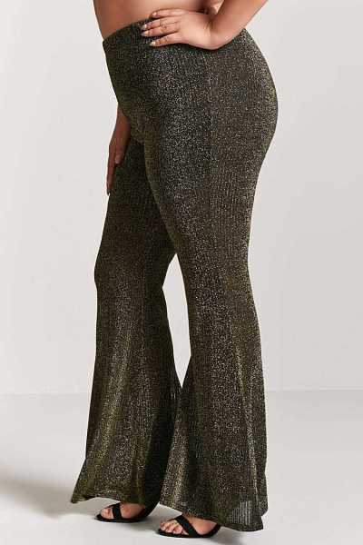Forever 21 Plus Size Metallic Knit Flare Pants