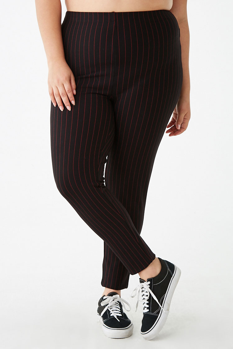 Forever 21 Plus Size Pinstriped Knit Leggings