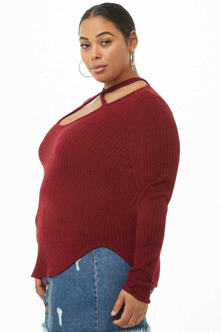Forever 21 Plus Size Ribbed Knit Crisscross Top