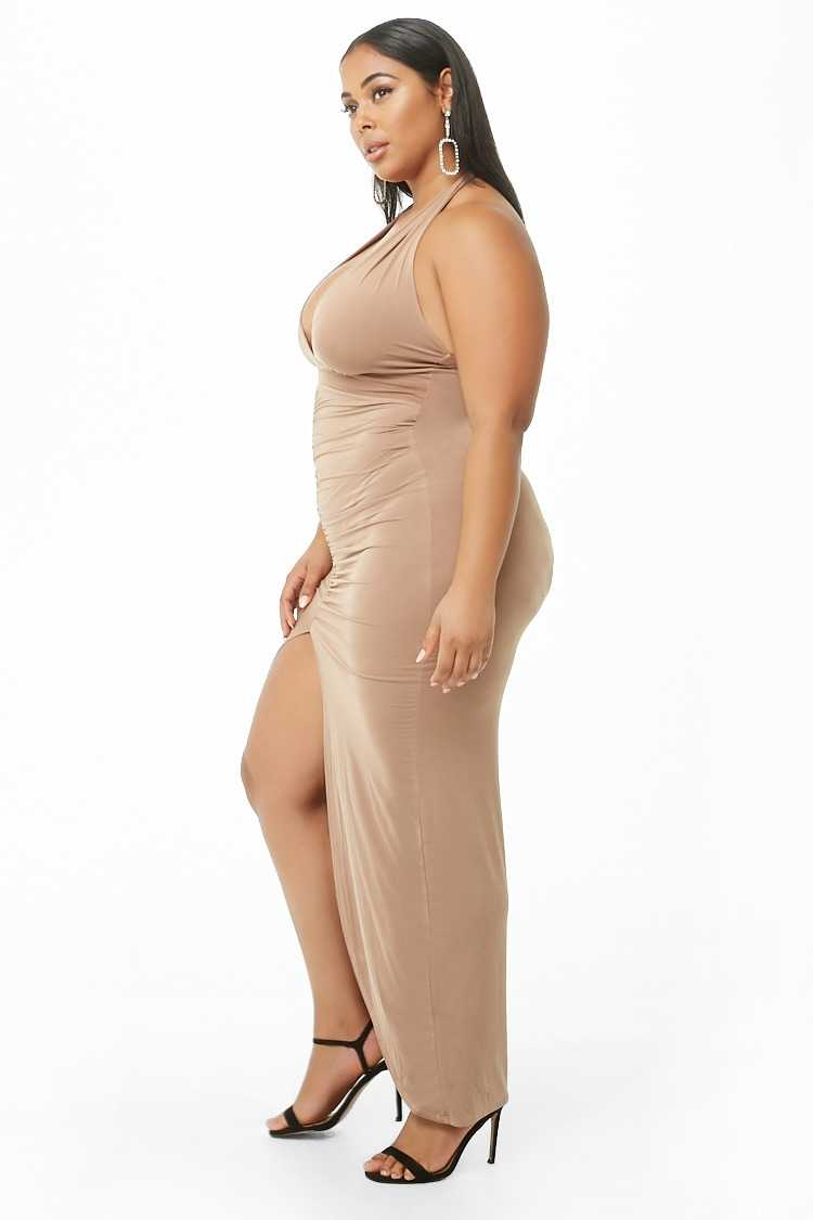 Forever 21 Plus Size Ruched Halter Maxi Dress