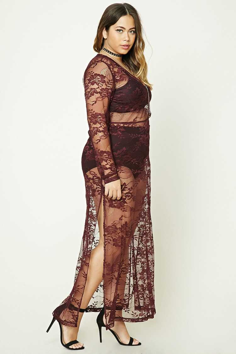 Forever 21 Plus Size Sheer Lace Maxi Dress